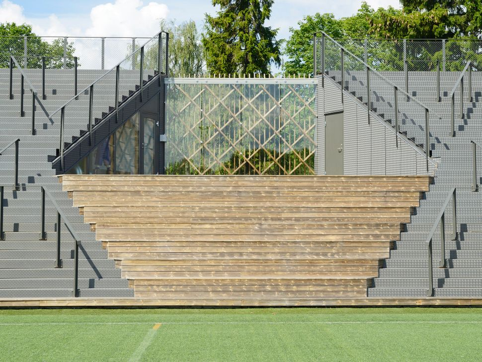 A small football stadium in Lidingö, Sweden, and an example of what World Architecture Festival judges deemed a big