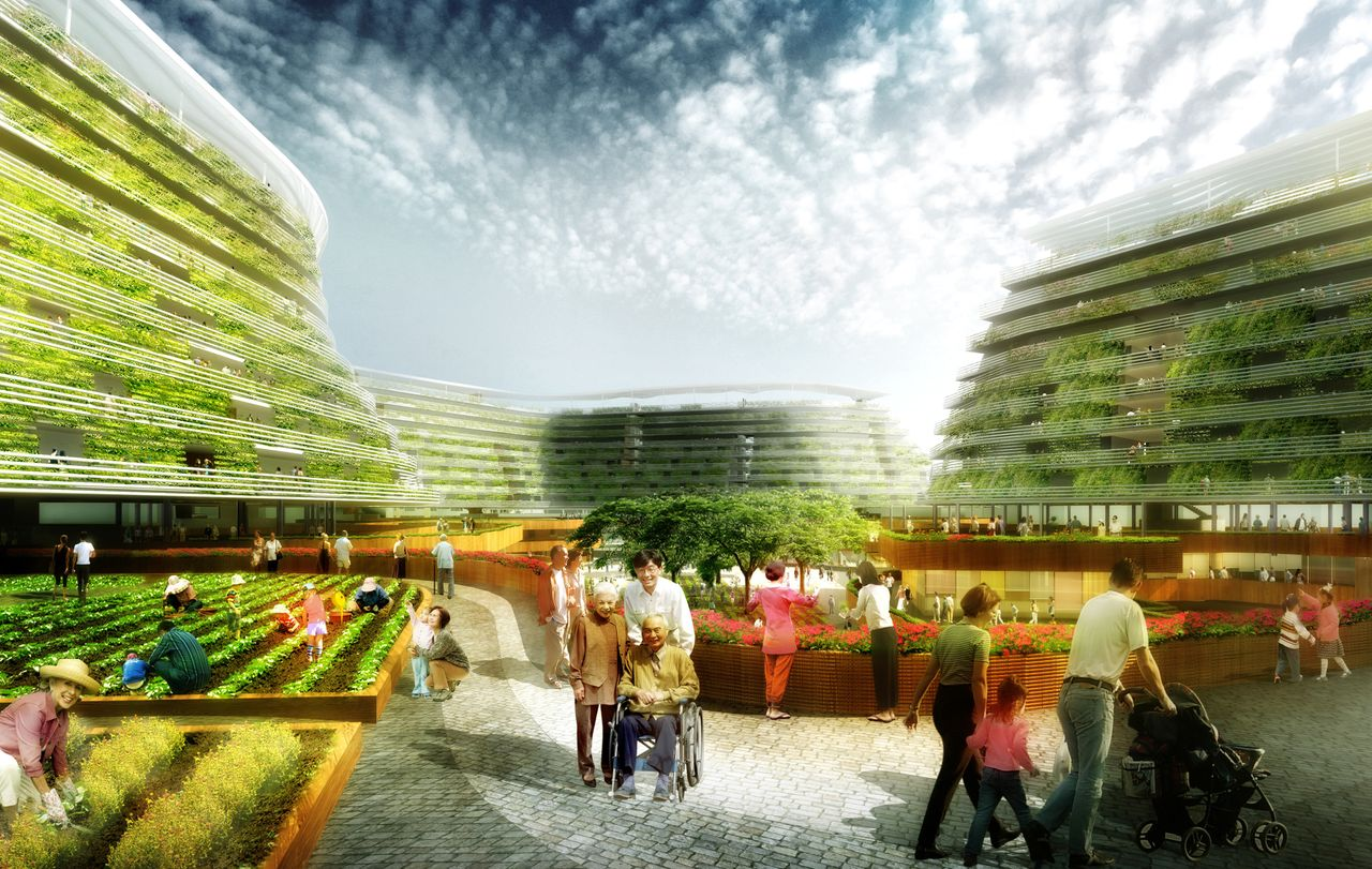 """To address issues surrounding Singapore's aging population and food scarcity, Home Farm will blend affordable housing with urban farming. """"We designed this concept for Singapore,"""" SPARK Director Stephen Pimbley explained in a statement, """"but there is the potential for it to be applied in any location that would support the growth of leafy green vegetables on building facades and rooftops."""""""