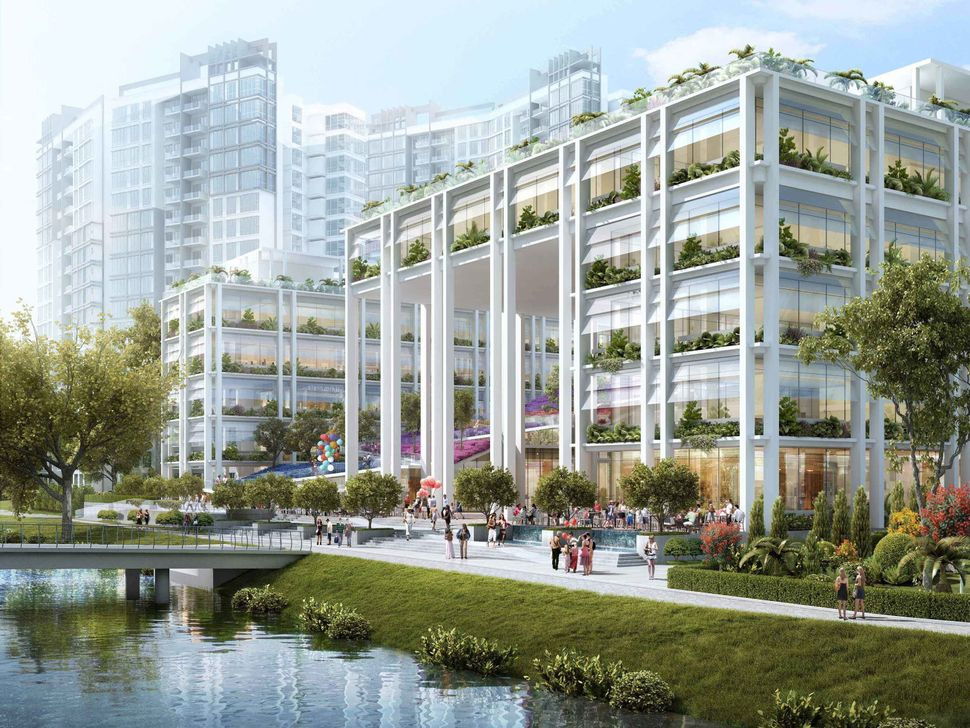 A future Neighbourhood Centre and Polyclinic in Punggol, Singapore, with elevated green spaces.