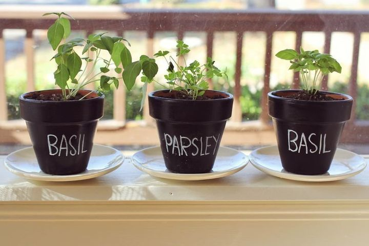 """Spruce up ordinary plant&nbsp;pots with chalkboard paint for planter that are instantly chic. Check out the tutorial on <a href=""""http://www.abeautifulmess.com/2012/10/nesting-chalkboard-planters.html"""" target=""""_blank"""">A Beautiful Mess</a> for more info.&nbsp;"""