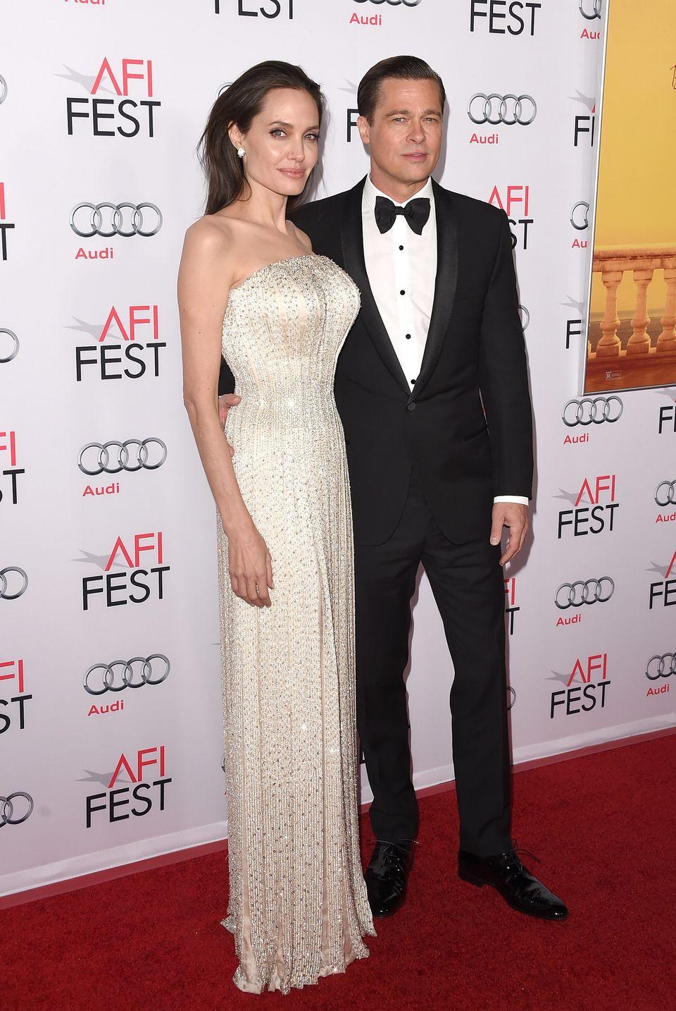 HOLLYWOOD, CA - NOVEMBER 05:  Writer-director-producer-actress Angelina Jolie Pitt (L) and actor-producer Brad Pitt attend th