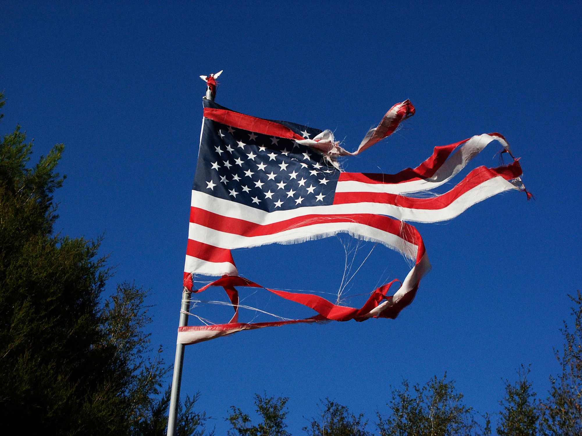 Florida, A wind battered American flag