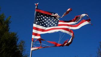 Florida, A wind battered American flag