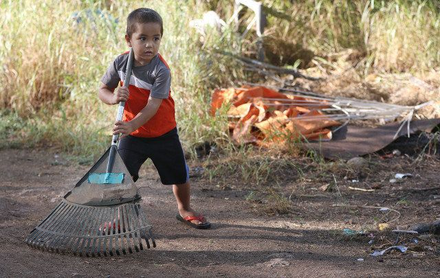 Pohaku is Twinkle's great-nephew and, like other kids, is required to do chores to help out.