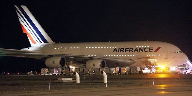 An Air France plane sits on the tarmac after it was diverted to Salt Lake City International Airport,...