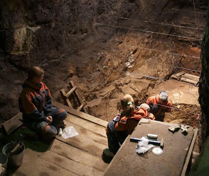 Researchers in the cave where the Denisovan fossils were found.