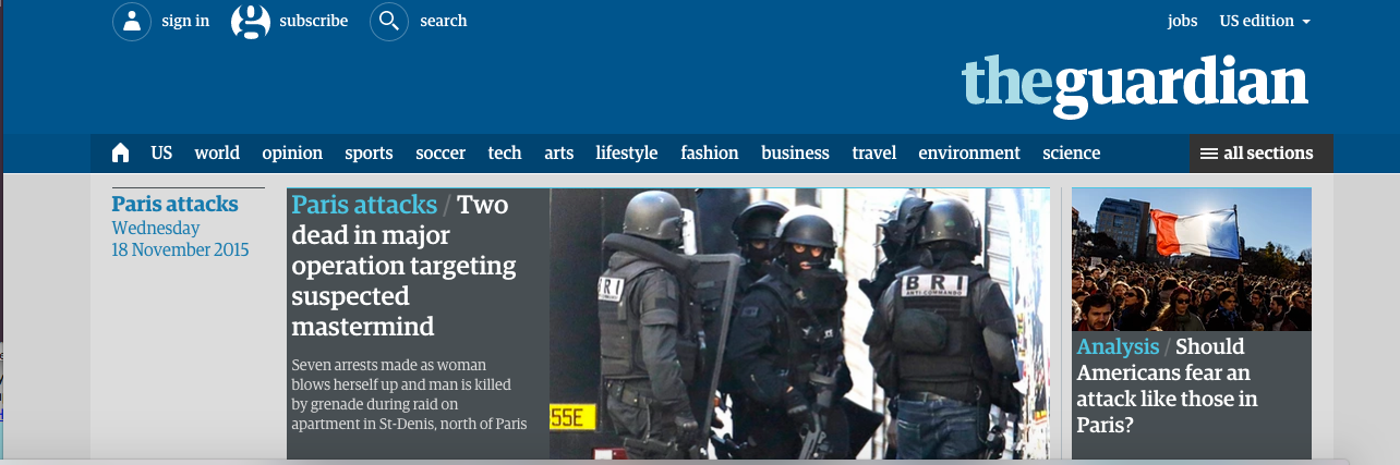 A screen shot of The Guardian's website.