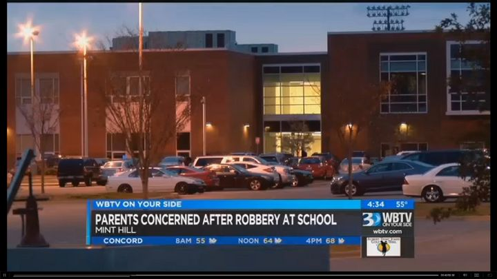 Mint Hill Police were called to Rocky River High School Monday after a teen said other students robbed him at gunpoint in the
