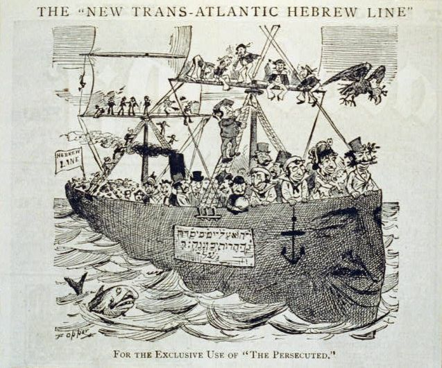 This 1881 cartoon in Puck magazine depicts Jewish immigrants.