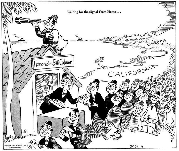 Dr. Seuss' 1942 cartoon played on fears that Japanese-Americans may be loyal to Japan and planning to destroy America.