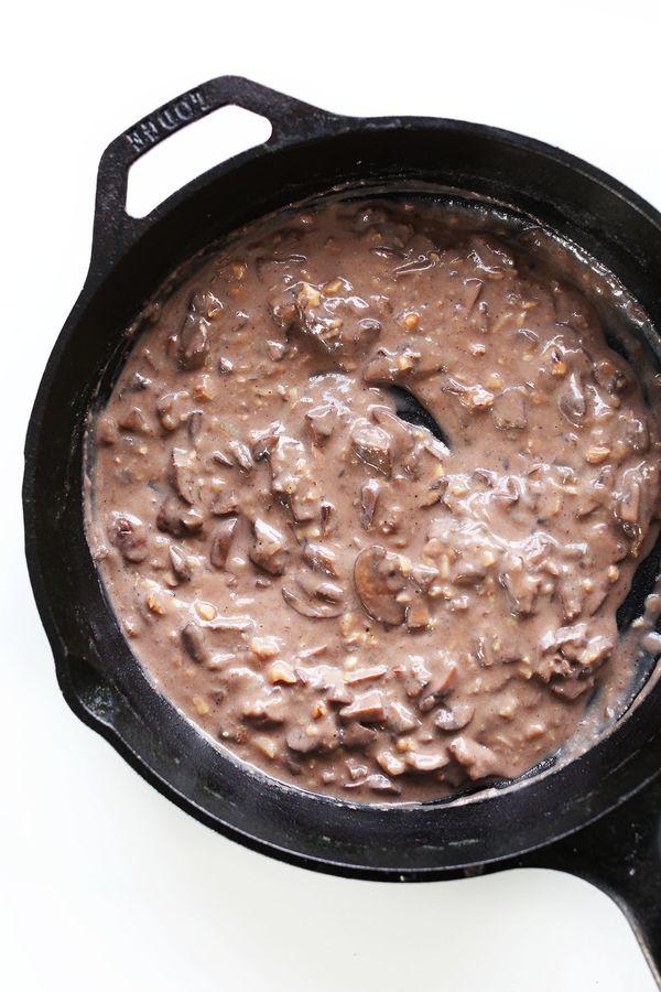 "<strong>Get the <a href=""http://minimalistbaker.com/vegan-biscuits-and-gravy/"" target=""_blank"">Vegan Mushroom Gravy recipe</a"