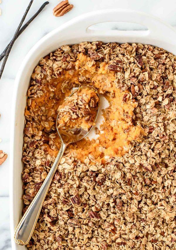 """<strong>Get the <a href=""""http://www.wellplated.com/healthy-sweet-potato-casserole/"""">Vanilla Bean Sweet Potato Casserole With"""