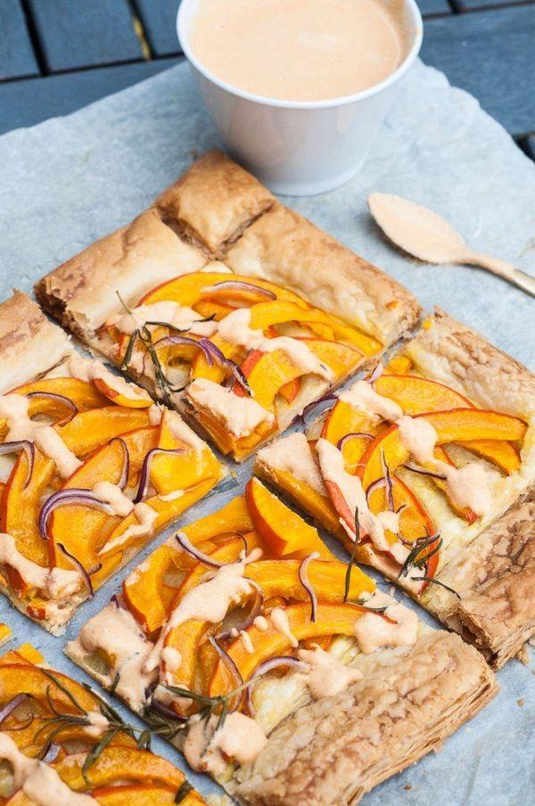 """<strong>Get the <a href=""""http://www.veganfamilyrecipes.com/2015/11/savory-pumpkin-tart.html"""">Savory Pumpkin Tart</a>rec"""