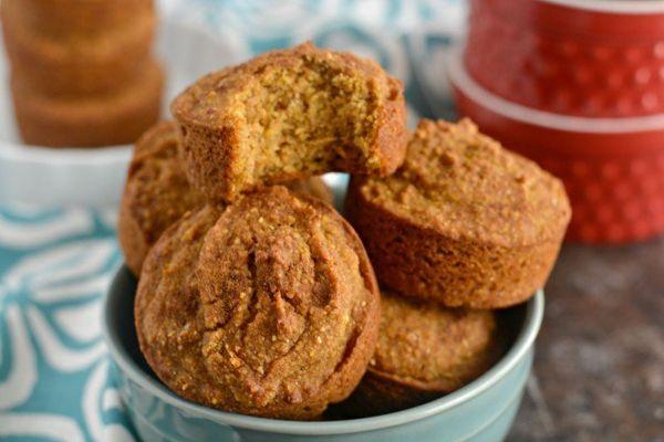 """<strong>Get the <a href=""""http://skinnyfitalicious.com/pumpkin-cornbread-muffins/"""">Pumpkin Cornbread Muffins</a>recipe f"""