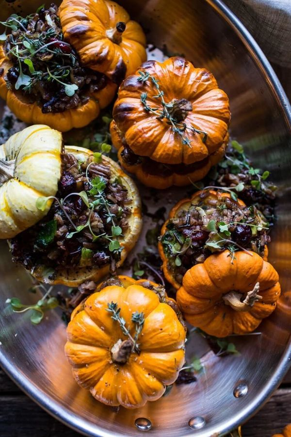"<strong>Get the <a href=""http://www.halfbakedharvest.com/nutty-wild-rice-and-shredded-brussels-sprout-stuffed-mini-pumpkins/"""