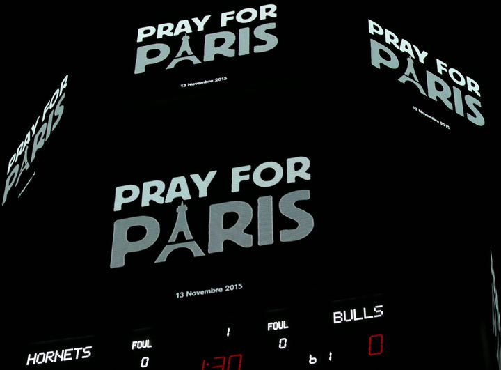 'Pray For Paris' is displayed during the game between the Chicago Bulls and the Charlotte Hornets on November 13, 2015 at the
