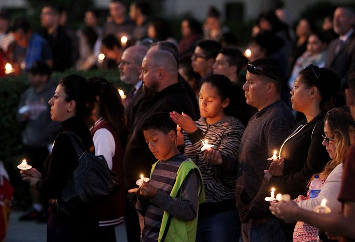 Members of the Whittier Union High School community gather on campus for a candlelight vigil in memory of Nohemi Gonzalez.