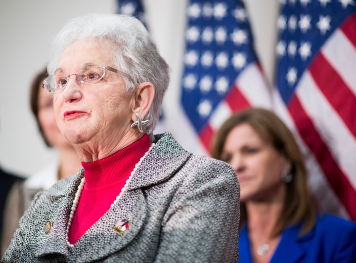 Rep. Virginia Fox (R-N.C.) speaks to the media following the House Republican Conference meeting in the Capitol on Wednesday,