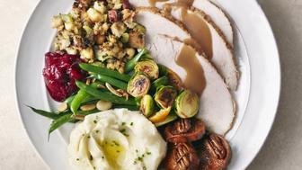 Overhead of Turkey meal on plate