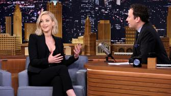 THE TONIGHT SHOW STARRING JIMMY FALLON -- Episode 0370 -- Pictured: (l-r) Actress Jennifer Lawrence during an interview with host Jimmy Fallon on November 18, 2015 -- (Photo by: Douglas Gorenstein/NBC/NBCU Photo Bank via Getty Images)