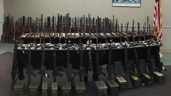 More than 500 illegal firearms and 100,000 rounds of ammunition were seized from a California man's home on Wednesday.