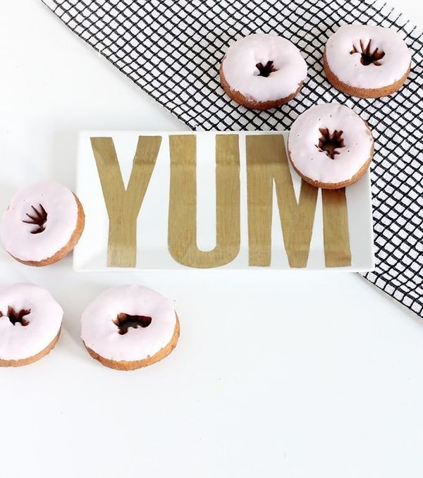 "Let your cooking speak for itself -- literally. This ""yum"" serving platter is the chicest way to serve sweets this holiday se"