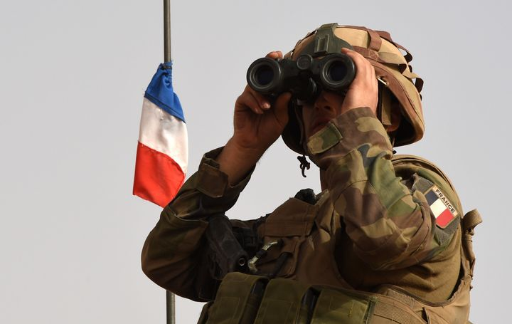 A French soldier of the 93rd Mountain Artillery Regiment, part of the French Army's 'Operation Barkhane', on June 5, 2015.