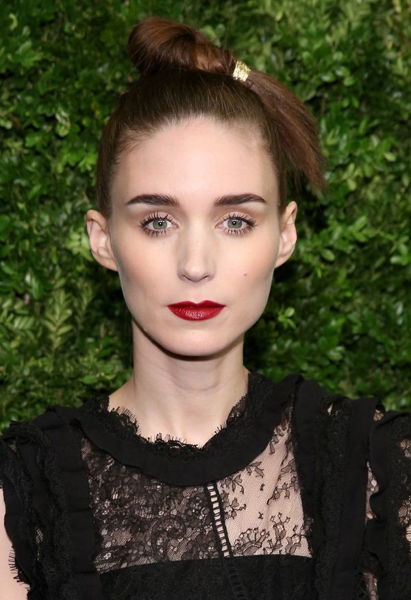 "The ""Carol"" actress has goth beauty down to a tee. While we love her interesting topknot and dark eyebrows, it's Mara's rich"