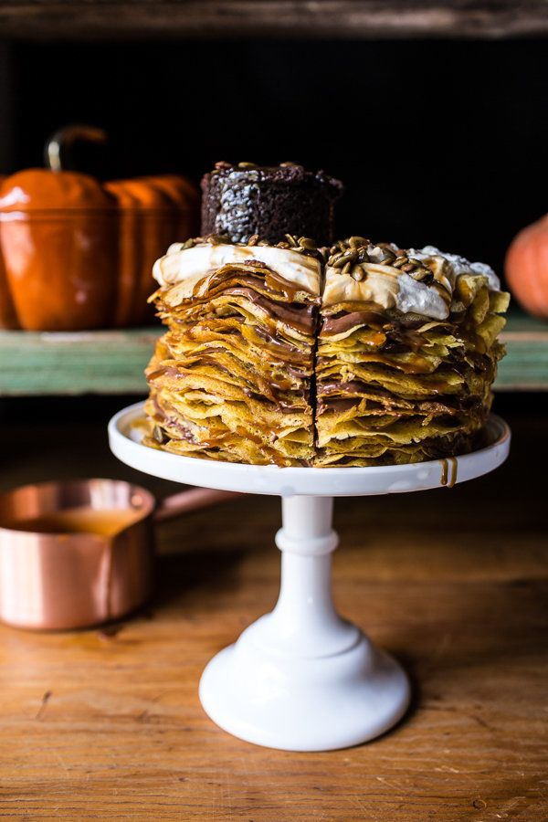 """<strong>Get the <a href=""""http://www.halfbakedharvest.com/pumpkin-nutella-crepe-cake/"""">Pumpkin Nutella Crepe Cake recipe </a>f"""