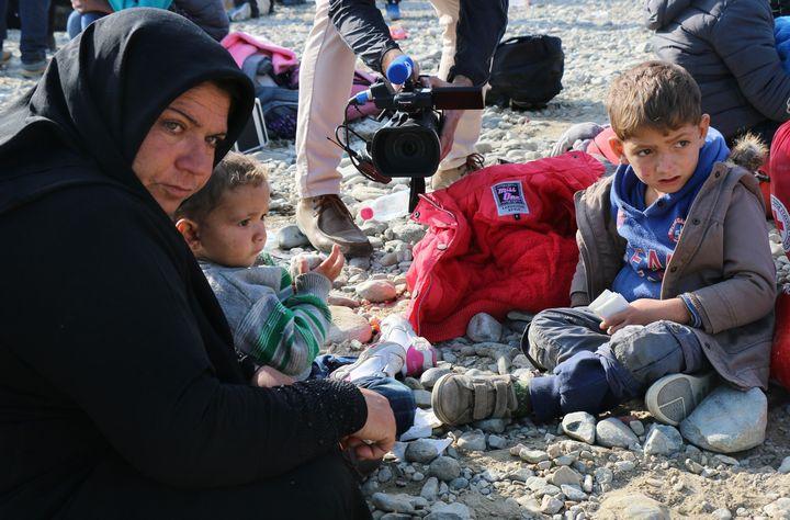 Syrian refugees wait at the refugee camp in Gevgelija, Macedonia, on Nov. 19, 2015.
