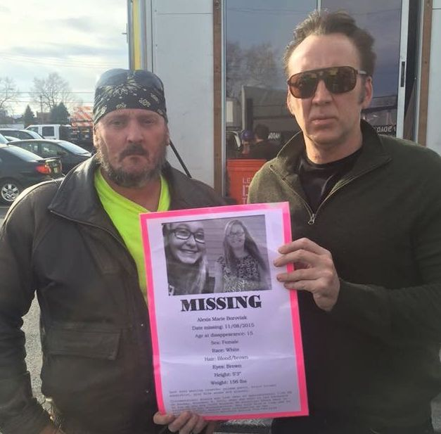Nicolas Cage posed for a photo with the stepfather of missing teen Alexis Boroviak.
