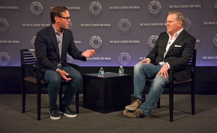 James Murdoch, CEO of 21st Century Fox, and David Zaslav, president and CEO of Discovery Communications, speak at The Paley C