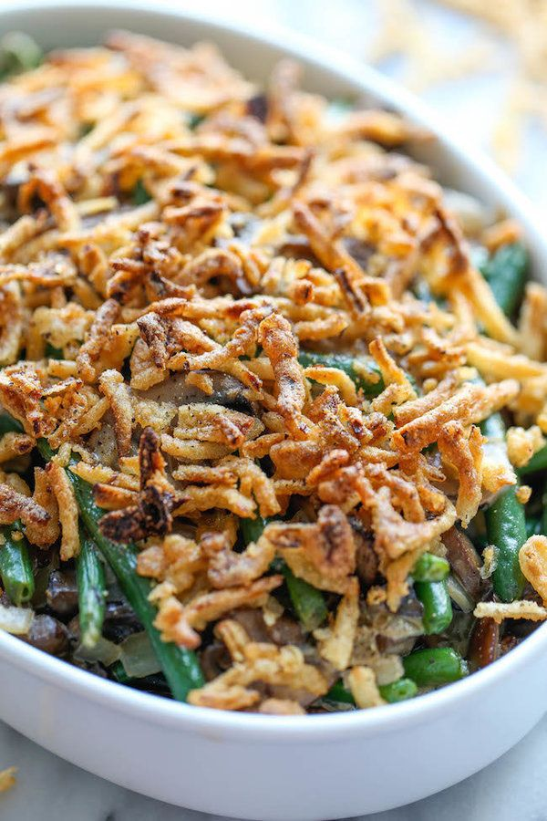 """<strong>Get the <a href=""""http://damndelicious.net/2014/11/19/easy-green-bean-casserole/"""">Easy Green Bean Casserole recipe</a>"""