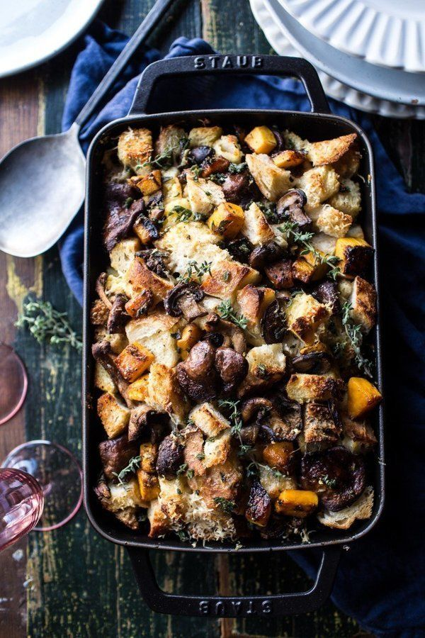 """<strong>Get the <a href=""""http://www.halfbakedharvest.com/butternut-squash-and-wild-mushroom-stuffing/"""">Butternut Squash and W"""