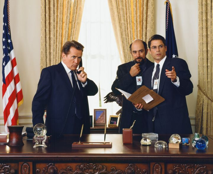 Martin Sheen as President Josiah 'Jed' Bartlet, Richard Schiff as Toby Ziegler and Rob Lowe as Sam Seaborn.