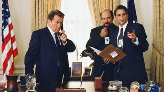THE WEST WING -- SEASON 1 -- Pictured: (l-r) Martin Sheen as President Josiah 'Jed' Bartlet, Richard Schiff as Toby Ziegler, Rob Lowe as Sam Seaborn -- Photo by: Steve Schapiro/NBCU Photo Bank