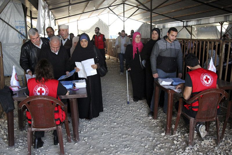 Syrian refugees line up to receive aid for the winter from the UN refugee agency (UNHCR) in Tripoli, northern Lebanon on November 18, 2015. Photo courtesy of REUTERS/Omar Ibrahim*Editors: This photo may only be republished with RNS-REFUGEE-RESETTLE, originally transmitted on Nov. 19, 2015.