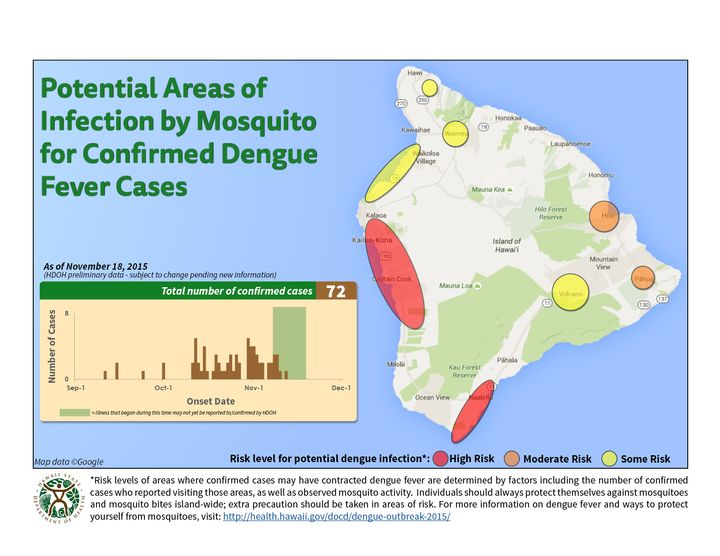 As of Nov. 19, the state's Department of Health confirmed 79 cases of dengue fever on the Big Island. Of those cases, 68 were local residents and 11 were island visitors.