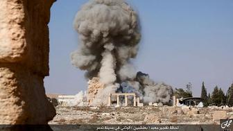 An image distributed by Islamic State militants on social media on August 25, 2015 purports to show the destruction of a Roman-era temple in the ancient Syrian city of Palmyra. Photo courtesy of REUTERS/Social Media  *Editors: This photo may only be republished with RNS-SPLAINER-APOCALYPSE, originally transmitted on Nov. 19, 2015.