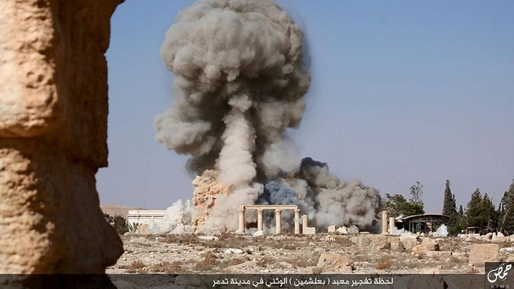 An image distributed by Islamic State militants on social media on Aug. 25, 2015, purports to show the destruction of a Roman