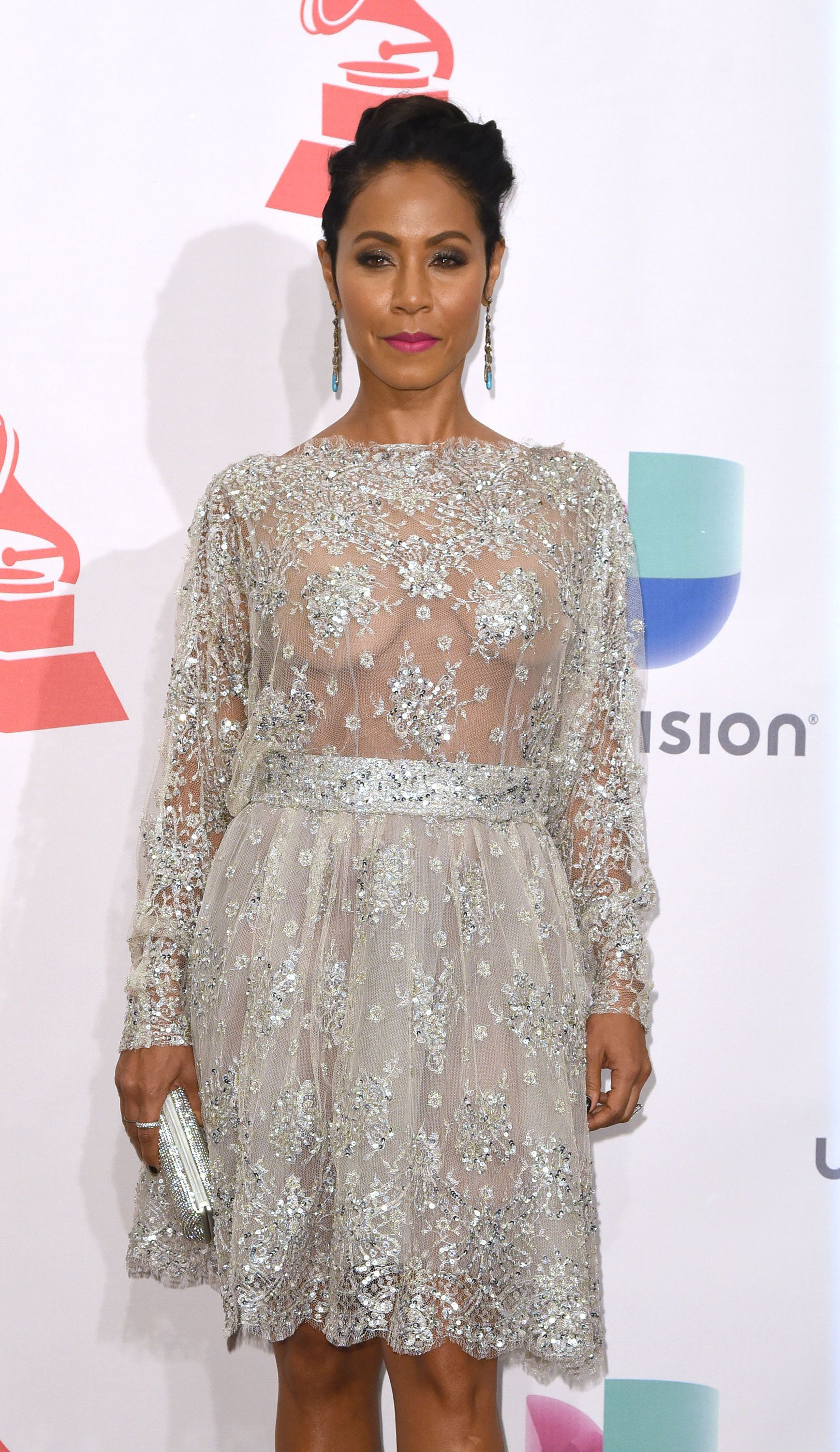 jada pinkett smith goes braless in sheer lace dress for 2015 latin
