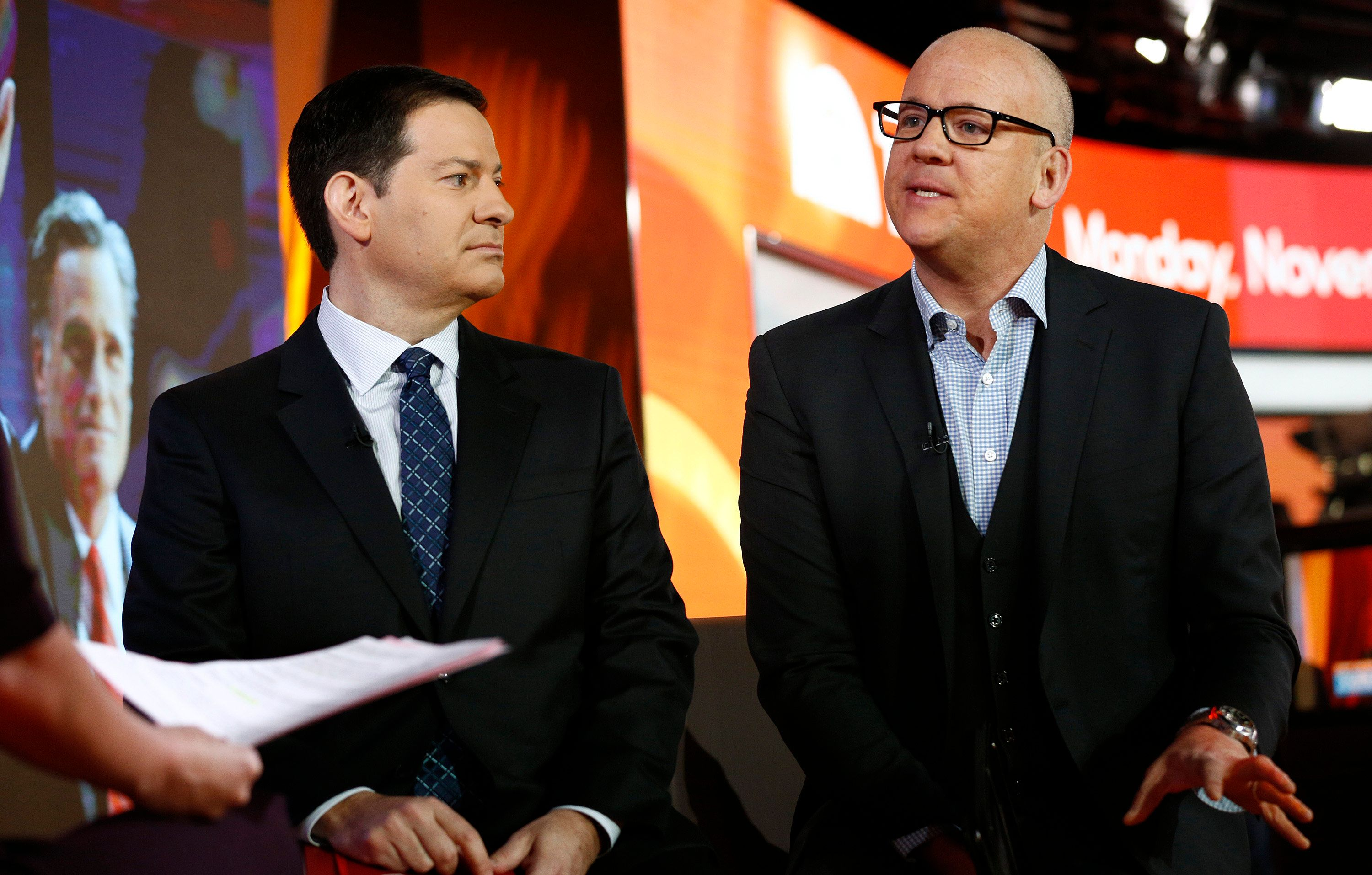 TODAY -- Pictured: (l-r) Political journalists Mark Halperin and John Heilemann appear on NBC News' 'Today' show on November 4, 2013 -- (Photo by: Peter Kramer/NBC/NBC NewsWire via Getty Images)