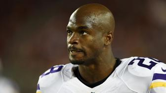 SANTA CLARA, CA - SEPTEMBER 14:  Adrian Peterson #28 of the Minnesota Vikings looks on from the field during their NFL game against the San Francisco 49ers at Levi's Stadium on September 14, 2015 in Santa Clara, California.  (Photo by Thearon W. Henderson/Getty Images)