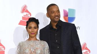 LAS VEGAS, NV - NOVEMBER 19:  Jada Pinkett Smith and Will Smith pose backstage during the 16th Latin GRAMMY Awards on November 19, 2015 in Las Vegas, Nevada.  (Photo by C Flanigan/Getty Images)