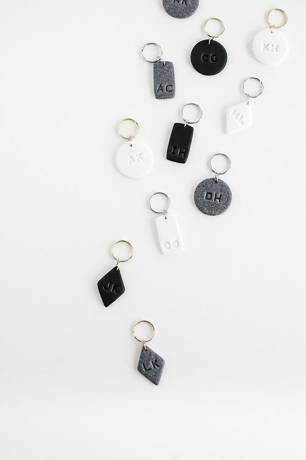 """Great for both girls and guys, these monogram clay keychainsaresimple, yet personal. <a href=""""http://www.homeyohm"""