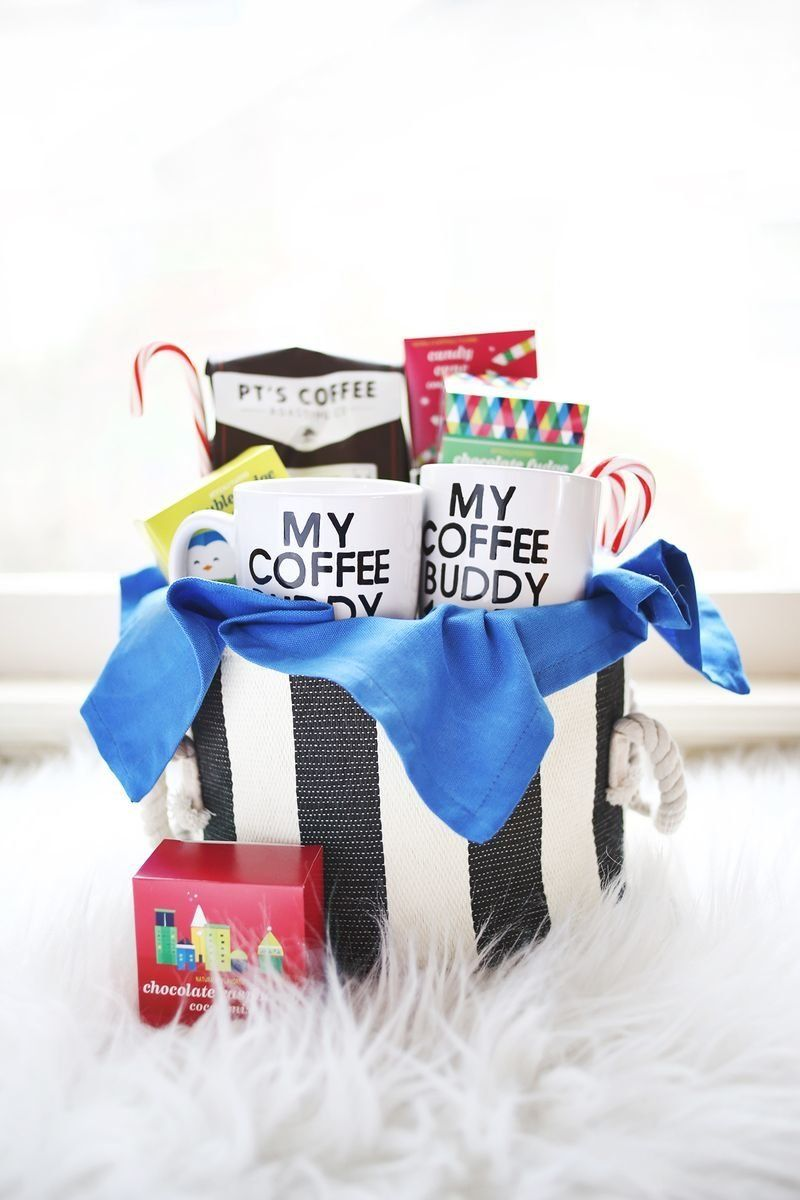 """This gift basket is sure to please any coffee-loving couple. Check out<a href=""""http://www.abeautifulmess.com/2013/12/hi"""