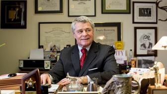 ROANOKE, VA - FEBRUARY 12:  Mayor David Bowers of Roanoke, Virginia at his law office in Roanoke, Virginia on February 12, 2014. Mayor Bowers has been a help to local immigrants and refugees. (Photo by Ryan Stone/For The Washington Post via Getty Images)