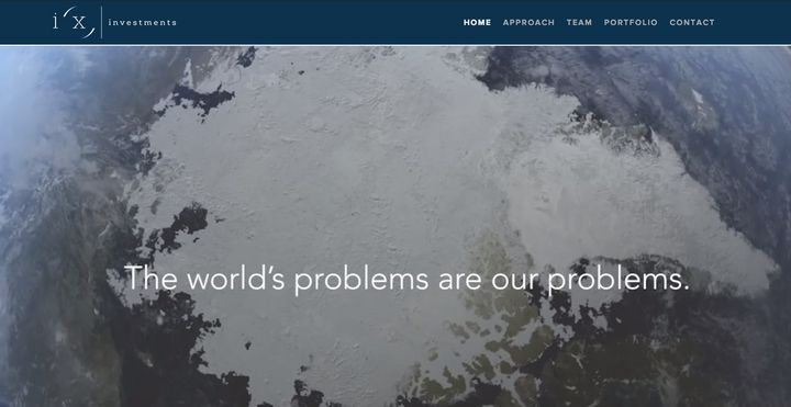 A rotating marquis on the i(x) Investments' website reads 'The world's problems are our problems,' overlaid on a video of a s