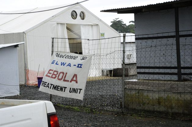 The entrance to the Elwa clinic, an Ebola treatment center in