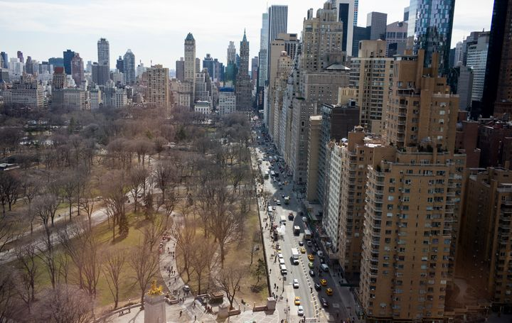 Beautiful, completely unaffordable buildings along Central Park in Manhattan.
